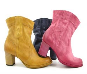 Booties; MJUS - Pink/Fuchsia, Gelb/Senf und Blau/Dunkelblau