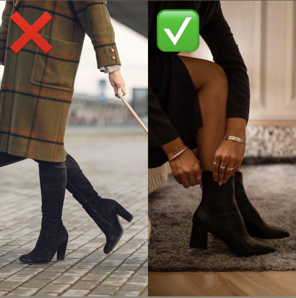 so wirken die Beine in Stiefeln länger