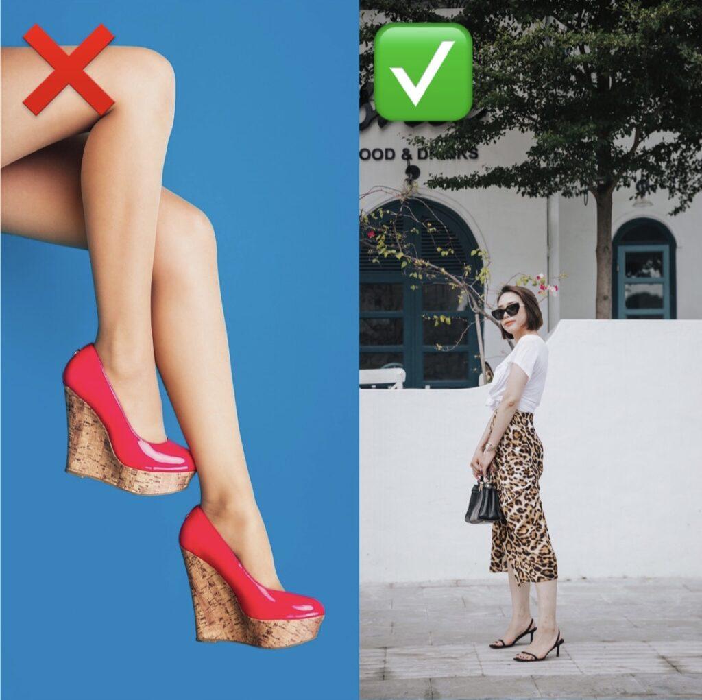 Keilabsätze lassen die Beine kürzer wirken