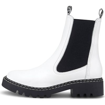 Weisse Chelsea Boots mit grobe dicke Sohle