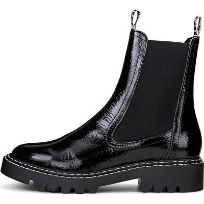 Schwarze Lackleder Chelsea Boots mit grobe dicke Sohle